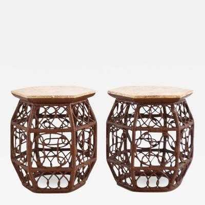 Lacquered Rattan Side Tables