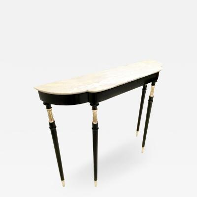 Lacquered Wood Console Table with White Carrara Marble Top Italy 1950s