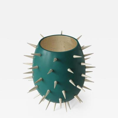 Lacquered Wood and White Gold Sculpture Cactus