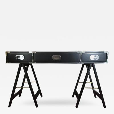 Lacquered in Black Campaign Desk with Chrome Brass Hardware