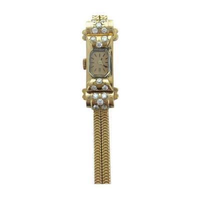Ladies Yellow Gold Diamond Wristwatch 1940s