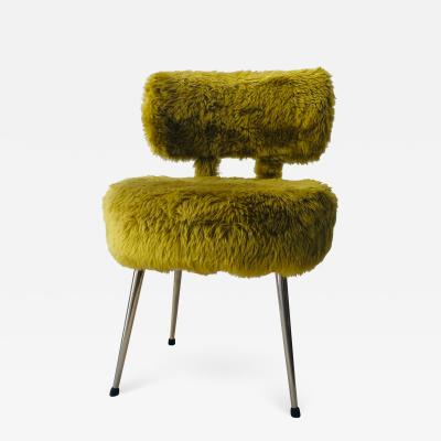Lady Chair Mid Century Modern in Green Sheep Wool