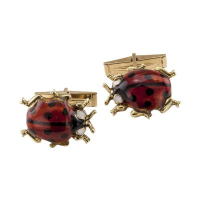 Ladybug Enamel Gold Cuff Links