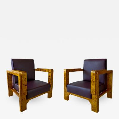 Lajos Kozma Pair of Hungarian Late Art Deco Burled Walnut and Rootwood Armchairs