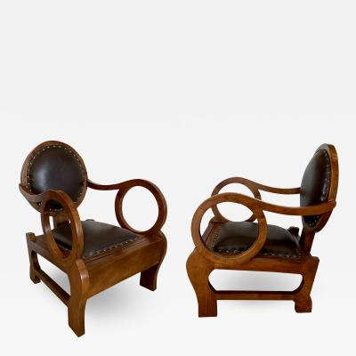 Lajos Kozma Pr Hungarian Walnut Distressed Leather Art Deco Club Chairs Lajos Kozma