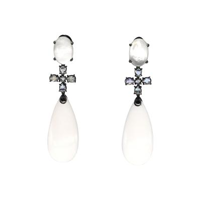 Lalino Quartz Agatha and Moonstone on Weight Black Gold Chandelier Earrings