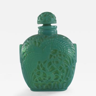Lalique French Art Deco Green Glass Perfume Bottle