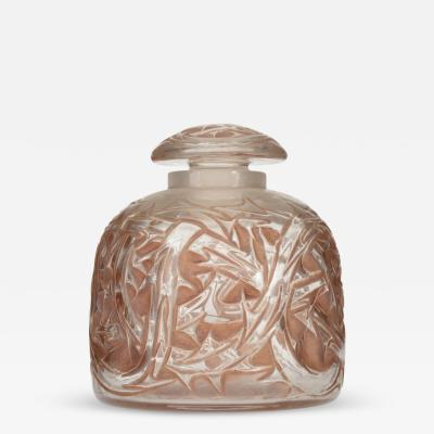 Lalique French Art Deco Round Glass Perfume Bottle