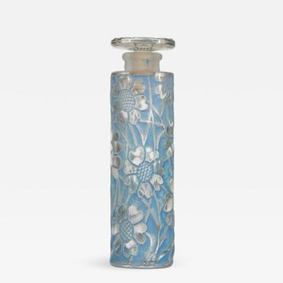 Lalique French Art Deco Tall Cylindrical Glass Perfume Bottle