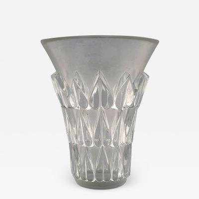 Lalique Lalique Feuilles vase in art glass with leaves in relief