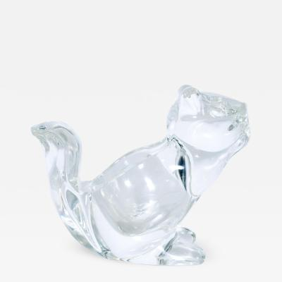 Lalique Mid Century Modern Crystal Glass Squirrel Candy Dish