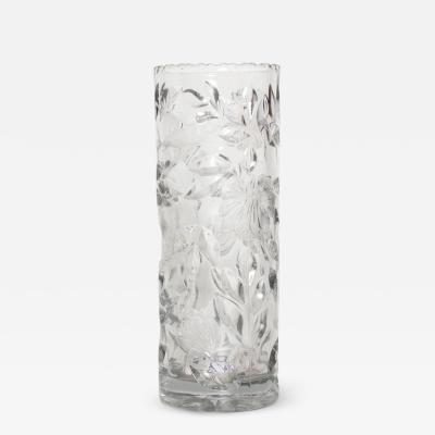 Lalique Mid Century Modern Glass Flower Vase Hollywood Regency