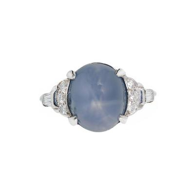 Lambert Brothers 9 80 Carat Star Sapphire Diamond Platinum Ring