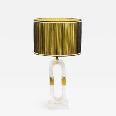 Lamp in lucite and gilded brass 1970s