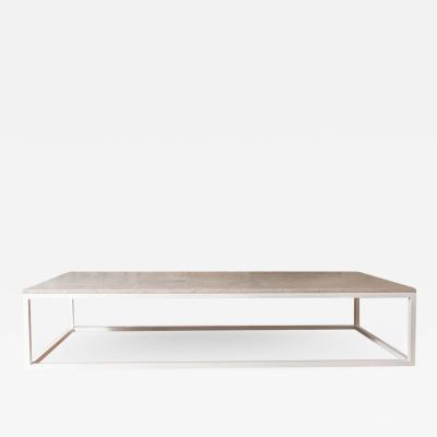 Lance Thompson Made to Order Stone Top Solid Stainless Steel White Base Coffee Table