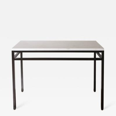 Lance Thompson Marble Stone Top Console with Solid Blackened Steel Base Made to Order