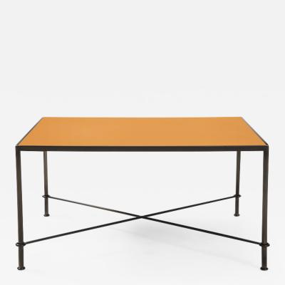 Lance Thompson Mies handmade leather and iron coffee table by Lance Thompson Made to Order