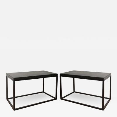 Lance Thompson Pair Belgian Bluestone Solid Blackened Steel Frame Side Tables