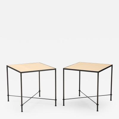 Lance Thompson Pair of Mies Handmade Leather and Iron Tables by Lance Thompson Made to Order