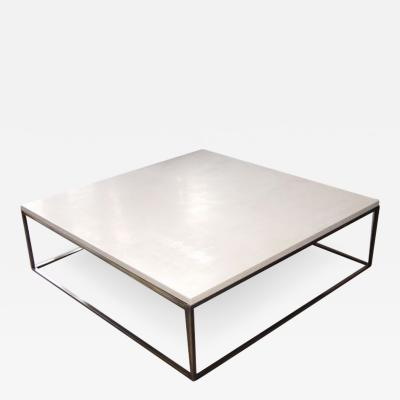 Lance Thompson Stone Cocktail Coffee Table with Bronze Finish Base Made to Order