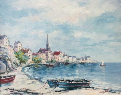 Landscape Beach Town Oil on Canvas Painting Signed by Artist Austin
