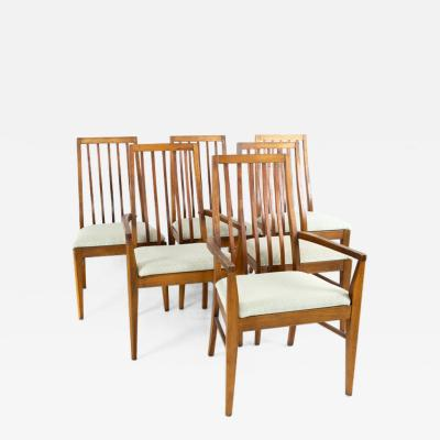 Lane First Edition Mid Century Walnut Spindle Back Dining Chairs Set of 6