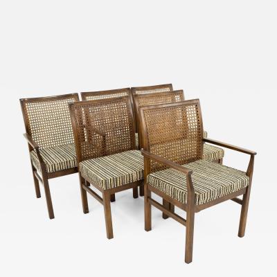 Lane Mid Century Cane Backed Walnut Dining Chairs Set of 6
