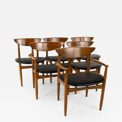 Lane Perception Mid Century Walnut Cats Eye Dining Chairs Set of 6