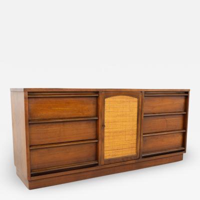 Lane Rhythm Mid Century 9 Drawer Cane Front Lowboy Dresser on Plinth Base