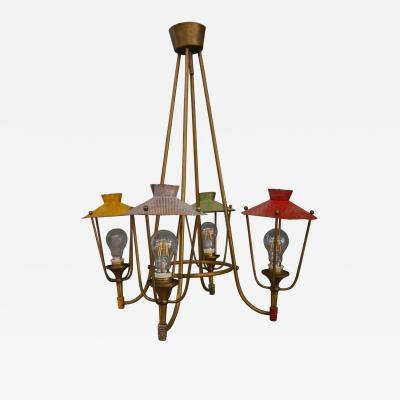 Lantern chandelier 50 years Italian