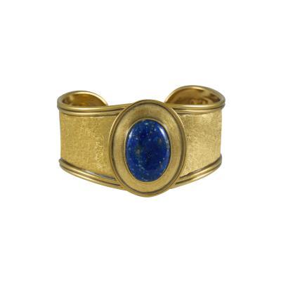 Lapis Gold Cuff Bracelet