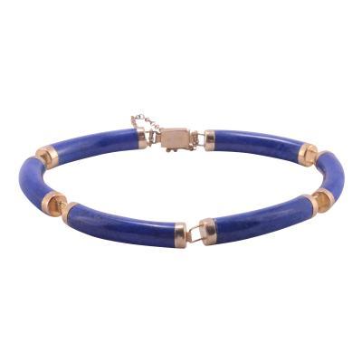 Lapis Lazuli Bar Link 14K Bracelet