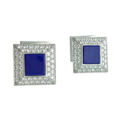 Lapis Lazuli Diamond White Gold Cufflinks