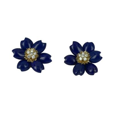 Lapis and Diamond Flower Earrings