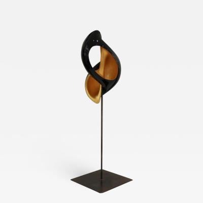 Laquered Wood and Gold Shell Sculpture Turitella 03M