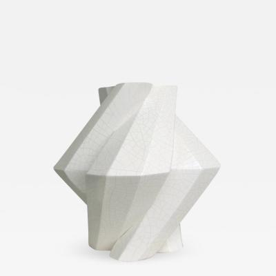Lara Bohinc Fortress Pillar Vase White Crackle Ceramic