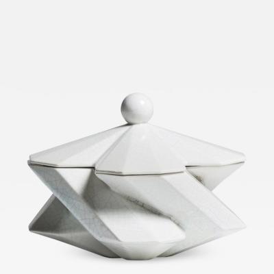 Lara Bohinc Fortress Treasury Box White Crackle Ceramic