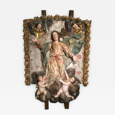 Large 17th Century Italian High Relief Carving Madonna