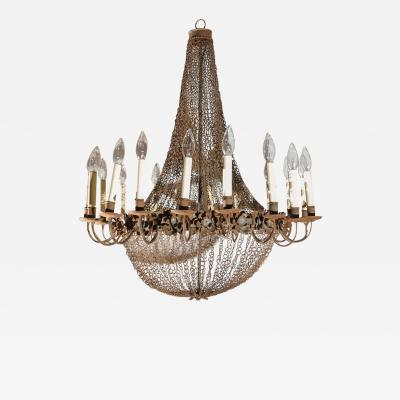 Large 18 Light Wire and Metal Chandelier