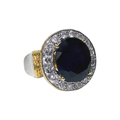 Large 18K Diamond and blue composite Sapphire Ring