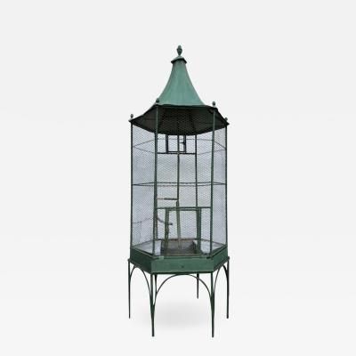 Large 1920s Painted Metal Garden Birdcage