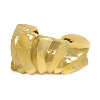 Large 1970s Italian Sculptural Gold Cuff Bracelet