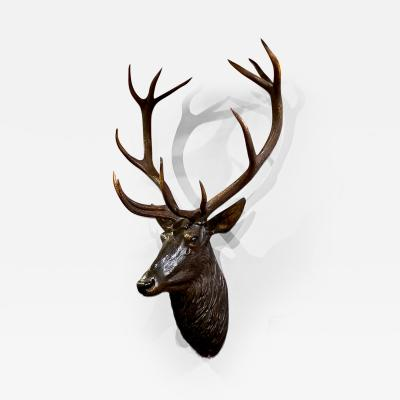 Large 19th Century Black Forest Deer Head with Natural Antlers