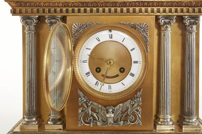 Large 19th Century French Bronze Figural Chariot Clock