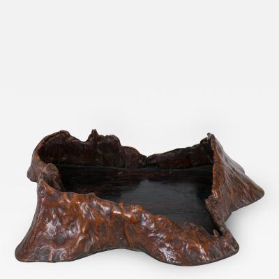 Large 19th Century Japanese Burl Wood Presentation Tray