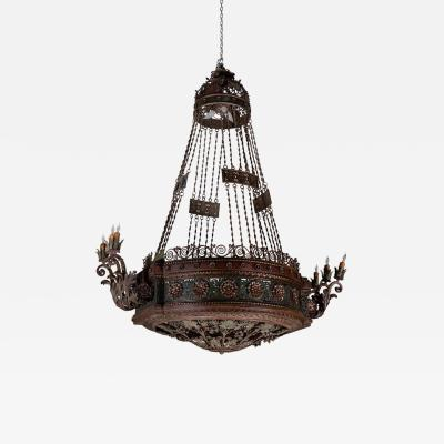 Large 19th Century Patinated Iron Chandelier
