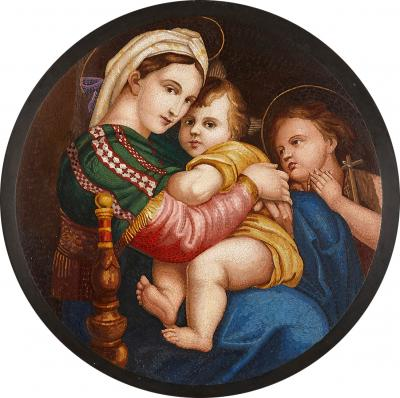 Large 19th Century micro mosaic after Raphaels Madonna della seggiola