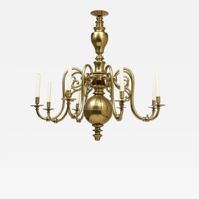 Large 19th c Dutch brass chandelier