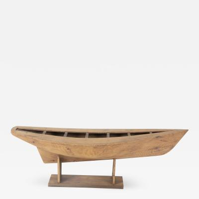 Large 19th c Maine shipyard builder s full hull model on new pine stand