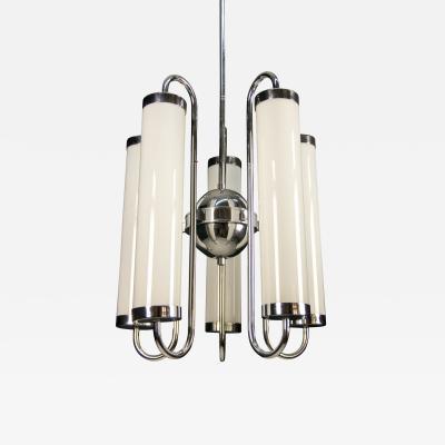 Large 5 flamming Tubular Bauhaus Chandelier 1920s